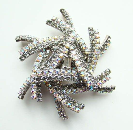Fabulous Geometric Dimensional Rhinestone AB Brooch Book Piece Glitzy MINT