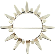 Vintage Tone Vigeland Norway Plus Design Sun Series Sterling Silver Modernist Brooch Pin with ND Bag Old Store Stock Never Used