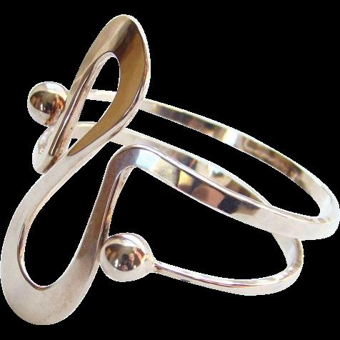 Norway Plus Design Sterling Silver Modernist Bracelet #W with ND Bag