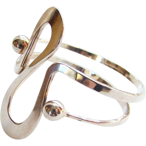 Norway Plus Design Sterling Silver Modernist Bracelet #W with ND Bag