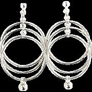 Vintage Norway Plus Design ND Sterling Silver Pierced Hoop Earrings Modernist Mid Century with ND Bag Old Store Stock Unused