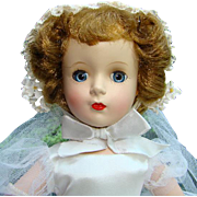Stunning 1951-55 Madame Alexander Margaret Face Bride Doll 15 Inch in Original Gown
