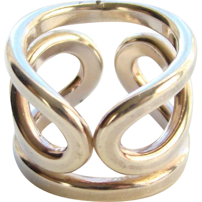 Norway Plus Design Ring Modernist Sterling Silver Size 5.5 with ND Bag #BB