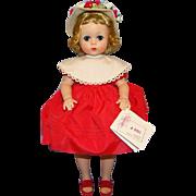 1957 Lissy Doll 1151 Red Taffeta Dress White Hat MIB Madame Alexander
