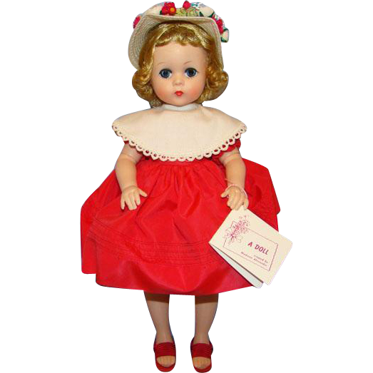1957 Lissy Doll 1151 Red Taffeta Dress White Hat MIB Madame Alexander