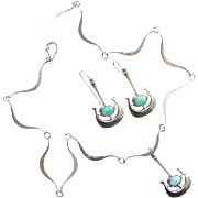 C1966 Bjorn Sigurd Ostern Modernist Sterling Silver Necklace Earrings David Andersen