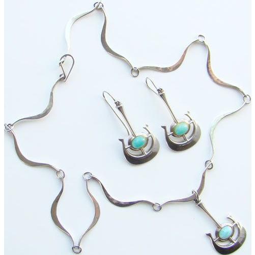 C1966 Bjorn Sigurd Ostern Modernist Sterling Silver Necklace Earrings David Andersen