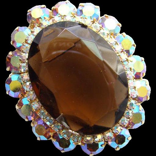 Juliana DeLizza & Elster Rhinestone Pendant Brooch Aurora Borealis Dark Topaz Oval