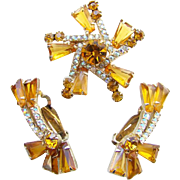 Juliana DeLizza & Elster Amber Keystone AB Rhinestone Brooch Earrings Set