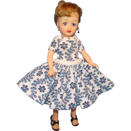 C1959 Ideal Little Miss Revlon Doll in Rare Torso Dress Box Blonde Ponytail