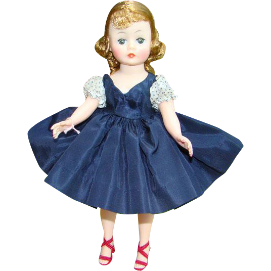 1959 Madame Alexander Cissette Doll 916 Navy Blue Taffeta Dress Rare Variation