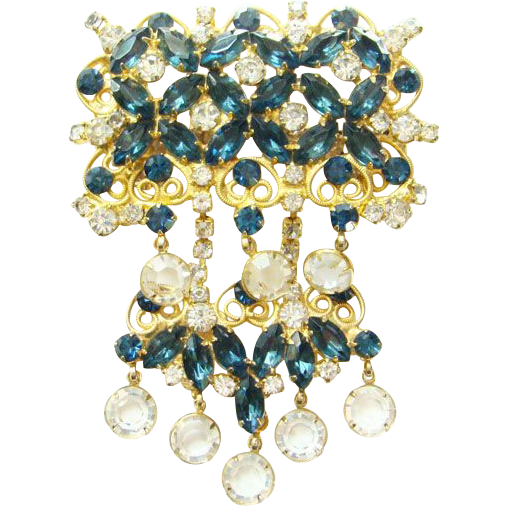 Vintage Juliana DeLizza & Elster Large Blue Rhinestone Brooch Clear Drops Verified