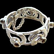 Vintage Taxco Mexico Link Bracelet Sterling Silver Tigers Eye Signed SJF
