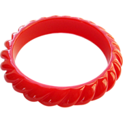 Terrific Red Lucite Bangle Bracelet Rope Twist Design Vintage