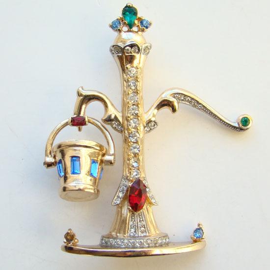 1948 Coro Pegasus Water Pump Rhinestone Figural Pin Brooch 150235 Adolph Katz Book Piece