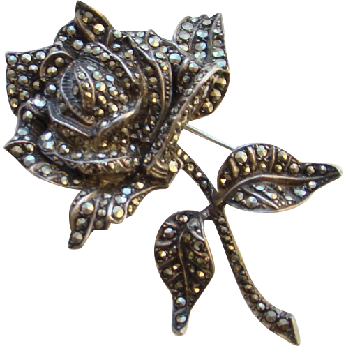 Sensational Old Marcasite and Silver Rose Brooch Pin 935 Marked