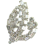 Juliana DeLizza & Elster Brooch Clear Rhinestone Baguette Spray Large