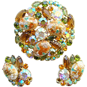 Juliana DeLizza & Elster Rhinestone Brooch Earrings Easter Egg Coral Gold Cabochon