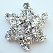 Juliana DeLizza & Elster Rhinestone Brooch Clear Snowflake Brilliant