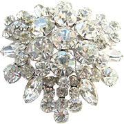 Juliana DeLizza & Elster Brooch Pin Clear Ice Rhinestone Silver Tone Setting