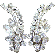 Juliana DeLizza & Elster Rhinestone Earrings Clear Climber Flower  Floral Spray