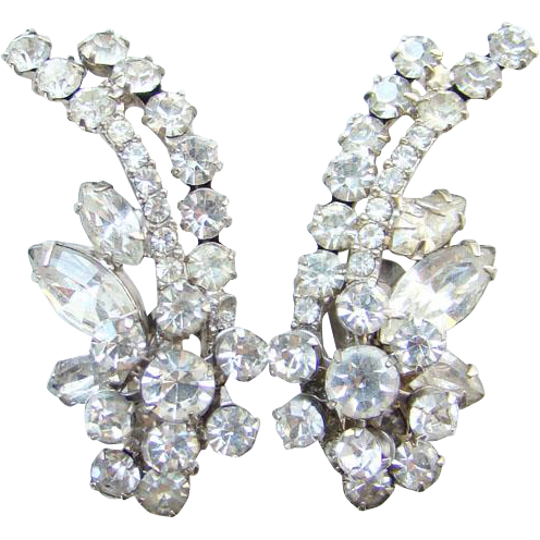 Juliana DeLizza & Elster Rhinestone Clip Earrings Clear Climber Flower Floral Spray