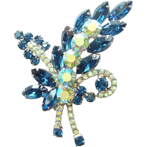 Juliana DeLizza & Elster Rhinestone Brooch Sapphire Blue AB Floral Spray