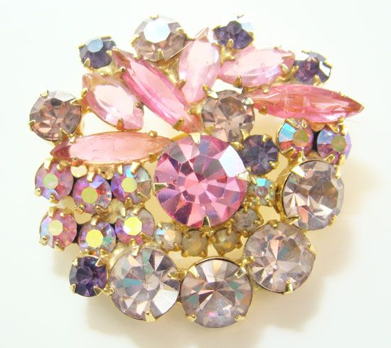 Juliana DeLizza & Elster Rhinestone Brooch Pin Pink Lavender Purple AB