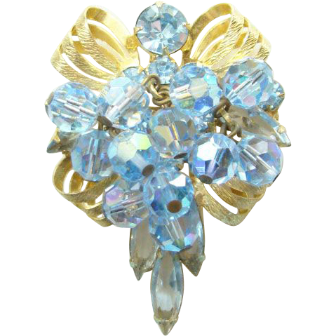 1965 Juliana DeLizza & Elster Blue Bead Ribbon Casting Pendant Brooch Book Piece