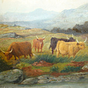 C1880s Original Oil on Canvas Painting Grazing Cow Cattle Scottish Scotland Highlands Highland Landscape Signed