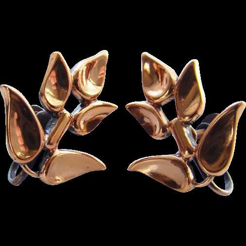 Vintage Renoir Copper Stylized Leaf Screw Back Earrings Signed
