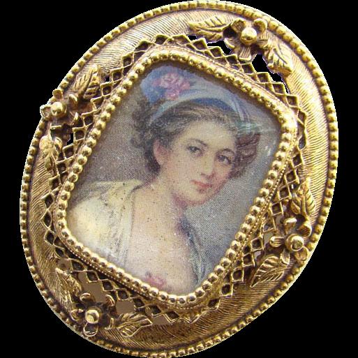 Vintage Florenza Portrait Pendant Brooch Signed Antiqued Gold Tone Setting