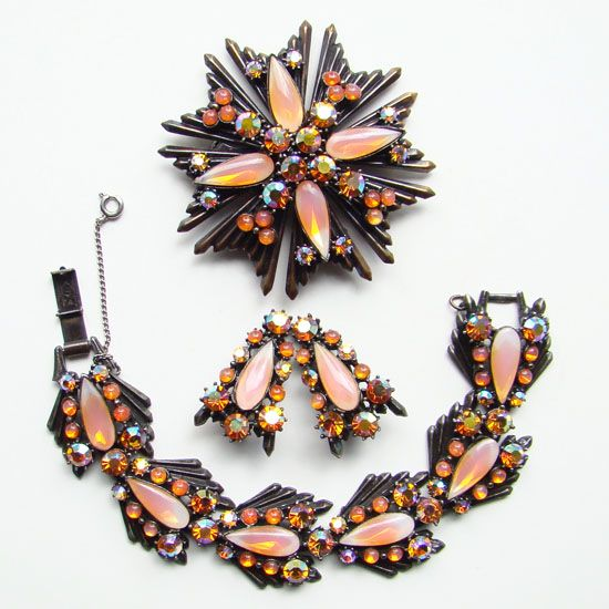Vintage Florenza Tangerine Art Glass Rhinestone Parure Set Bracelet Earrings Brooch Pendant