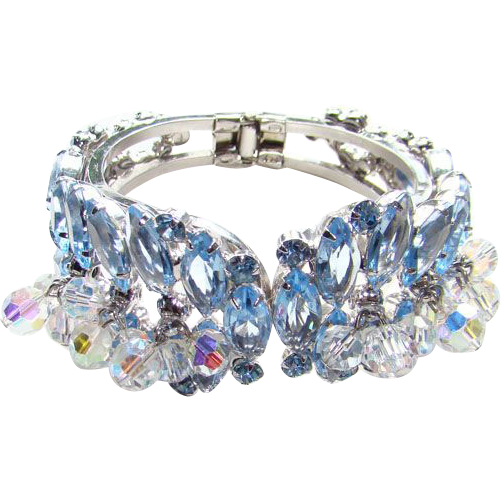 Juliana DeLizza & Elster Clamper Bracelet Light Sapphire Blue Rhinestone Book Piece 1960
