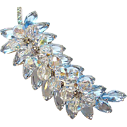 Juliana DeLizza & Elster Leaf Brooch Light Sapphire Blue Rhinestone Book Piece 1960
