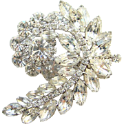 Juliana DeLizza & Elster Clear Ice Rhinestone Brooch Stylized Leaf Design