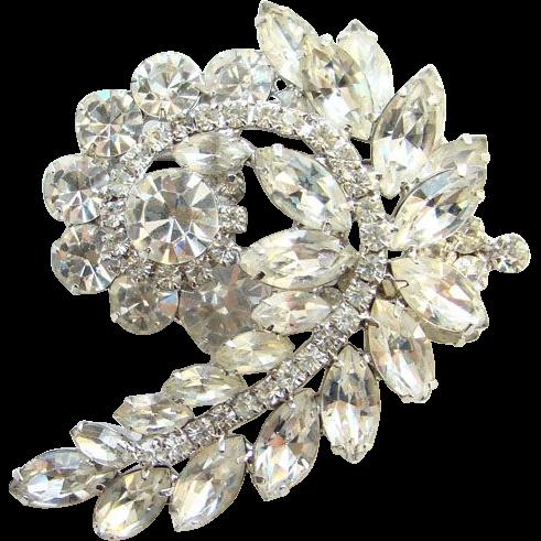 Juliana DeLizza & Elster Clear Ice Rhinestone Brooch Stylized Leaf Design