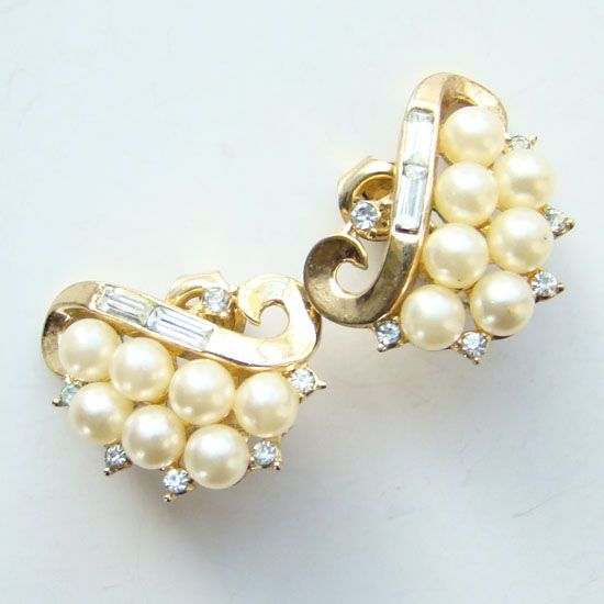 Vintage Crown Trifari Clip Earrings Faux Pearl Rhinestone Signed Pre 1955