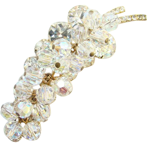 Juliana DeLizza & Elster Clear Rhinestone Bead Brooch Stylized Leaf Verified