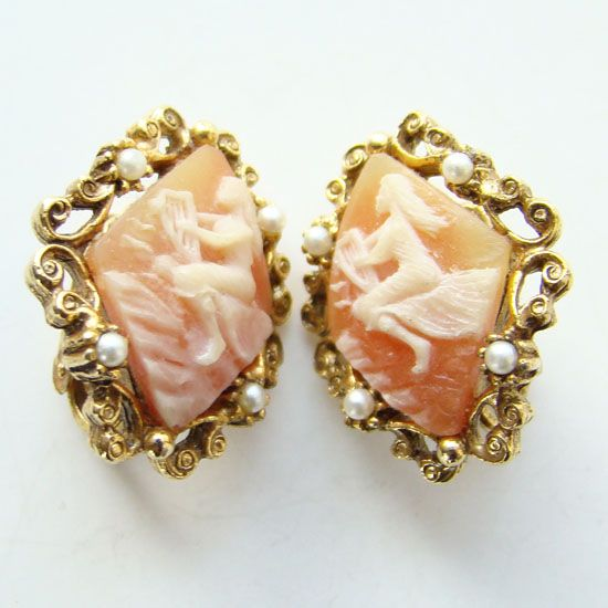 Vintage Shell Cameo Clip Earrings Greek Muse Polymnia Holding Lyre