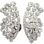 Juliana DeLizza & Elster Climber Clip Earrings Clear Rhinestone Dazzling
