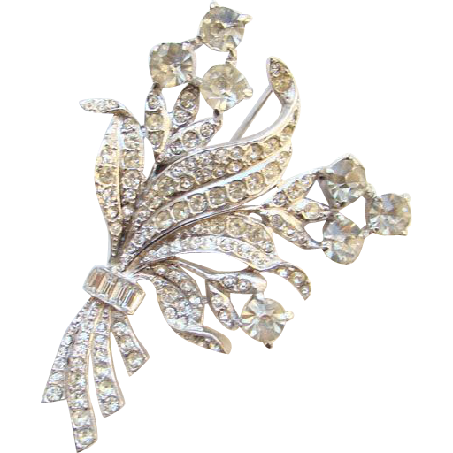 Vintage Exquisite Floral Spray Rhinestone Brooch Rhodium Plated Unsigned