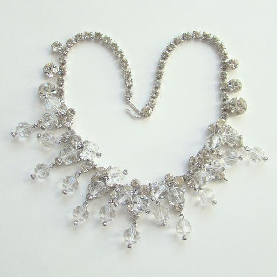 Juliana DeLizza & Elster Clear Faceted Bead Rhinestone Dangle Necklace Book Piece