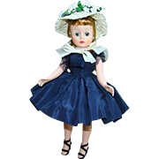 1957 Cissette Doll in 941 Navy Taffeta Dress Straw Hat Box Madame Alexander