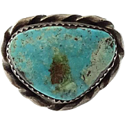 Southwestern Vintage Native American Navajo Turquoise and Sterling Ring Size 9.75