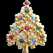 Vintage Eisenberg Rhinestone Christmas Tree Brooch Pin Red Blue Green Signed