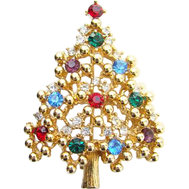 Vintage Eisenberg Rhinestone Christmas Tree Brooch Pin Red Blue Green Signed