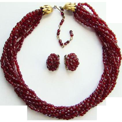 Vintage Vogue Garnet Color Faceted Bead Torsade Choker Necklace Earrings Set Signed