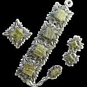 Vintage Miracle Scottish Celtic Green Glass Agate Bracelet Pin Clip Earrings Set Signed