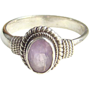 Old Sterling Silver Amethyst Ring Size 7 Rope Twist Decoration
